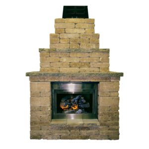 Rumbled Wall Fireplace – Granite Blend